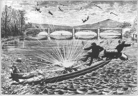 Buisson and his assistant's sad death by exploding rocket boat, 1886