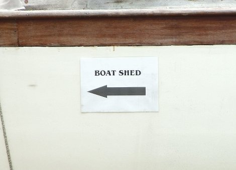 Boat shed sign seen at Stalham