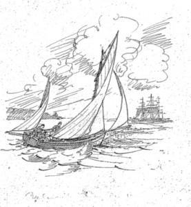 Falmouth quay punt drawn by Percy Dalton