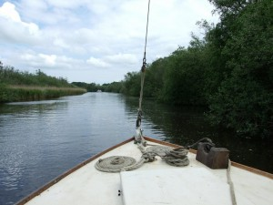 Broadland river scene on the way to Stalham and the Museum of the Broads