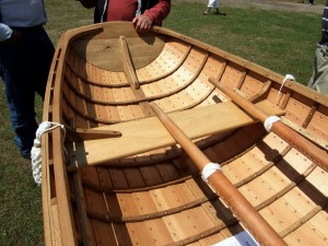 Francis Rayns\' clinker-built dinghy at the Beale Park Thames Boat Show