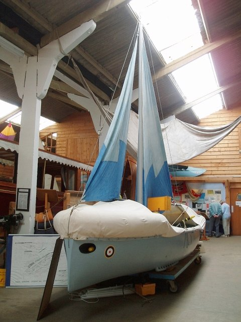 Uffa Fox's airborne lifeboat at the Classic Boat Museum, Isle of Wight