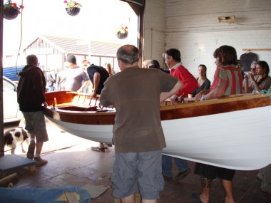 Johnny's boat leaves the workshop