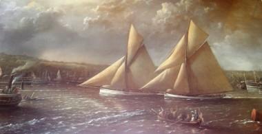 Print of Mayflower & Galatea presented to Ballynacally Aug 09
