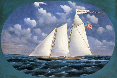 America schooner yacht painted by Bard