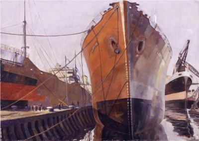 RSMA Exhibition - Pamela Drew (1910-1989) Ship Building, Belfast 1946 oil on canvas.