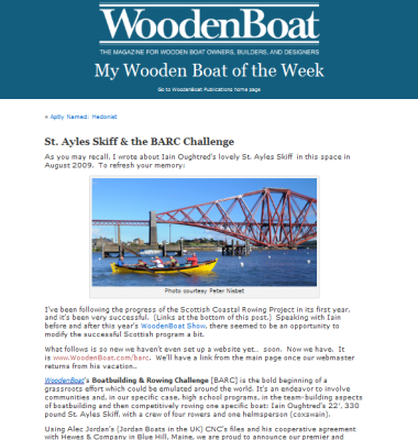 WoodenBoat St Ayles story
