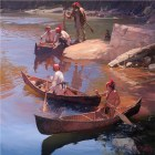 A painting by historical artist John Buxton showing similar birch bark canoes as they would have been used over 200 years ago
