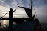 The crew of the Spider T raising the sails after coming out of Hartlepool around 6am Aug 3 20