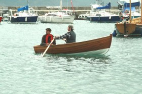 Clinker built dinghy made by Ollie Rees and Tim Herman