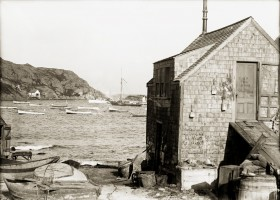 Monhegan Harbor, with the northern end of Manana Island in the background. From Penobscot Marine Museum's David J. Lindsay Photo Collection