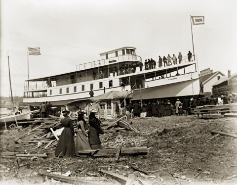 Circa-1905 image of the steamer Verona being launched into the Penobscot River, photographed by Preston Williams. From the MacEwen Photo Collection at Penobscot Marine Museum