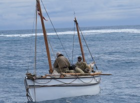 Alexandra Shackleton approaches pack ice leaving from Elephant Island at the start of the Shackleton Epic expedition.  Image Jo Stewart Shackleton Epic (2)