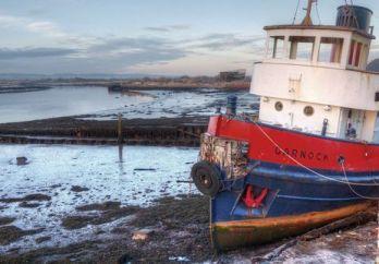 National Historic Ships 2 Low Tide at Irvine - Tug Garnock - by Alan Kempster