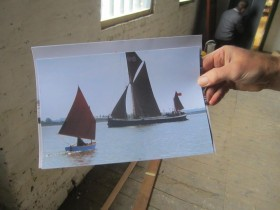 One of Alan Thorne's small boats with the sailing barge in the background