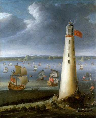 BHC1796 Oil painting of the Eddystone lighthouse by Isaac Sailmaker -® National Maritime Museum