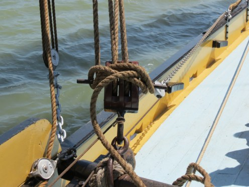 Sailing barge equipment on board Pudge, summer 2014