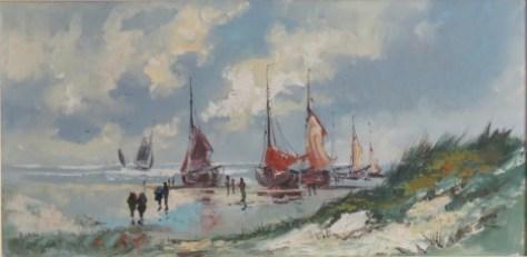 Scheveningen beach with fishing boats