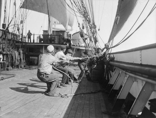 Sailors working onboard the Parma