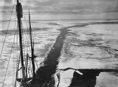 The wake of the 'Endurance' through young ice during the Imperial Trans-Antarctic Expedition, 1914-17, led by Ernest Shackleton. (Photo by Frank Hurley/Scott Polar Research Institute, University of Cambridge/Getty Images)