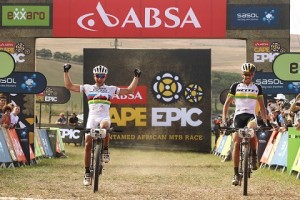 Nino Schurter and Philip Buys of SCOTT-Odlo MTB Racing celebrate as they win the 4th Stage during stage 4 of the 2014 Absa Cape Epic Mountain Bike stage race from The Oaks Estate in Greyton. Photo: Shaun Roy / Cape Epic / SPORTZPICS