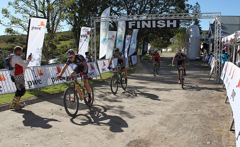 Chris Wolhuter (left) and Andrew Hill (second from left) outsprint Kevin Evans and Pieter Seyffert (far right) to claim the second stage of the PwC Great Zuurberg Trek near Addo outside Port Elizabeth on Saturday. Photo: Full Stop Communications
