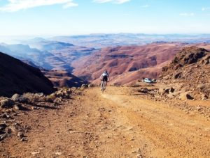 The climb and descent of Sani Pass, one of the most iconic mountain roads in Southern Africa, forms the primary challenge for mountain bikers at the inaugural Mitsubishi Sani Dragon stage race.