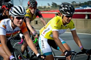 International super-cyclist, Marianne Vos (left), South Africa's international cycling champion Ashleigh Moolman-Pasio (right), and Cycling SA's Women's Commission Director, Lise Olivier (centre)