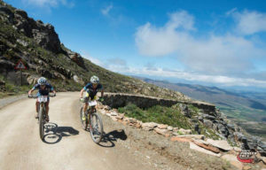 Catherine Williamson (left) and Esther Suss of Sasol Racing head towards stage victory in the women's race  during Stage 4 of the Cape Pioneer Trek from De Rust to Swartberg Pass, South Africa on Thursday. Photo credit: Zoon Cronje/Nikon