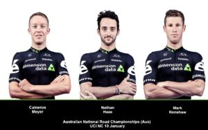 Aussies Cameron Meyer, Nathan Haas and Mark Renshaw will represent Team Dimension Data at the Australian national road champs on Sunday. Photo: Supplied