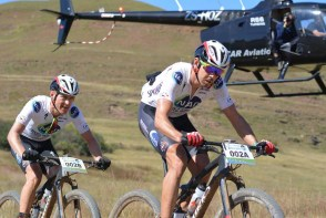 Nico Bell (front) and Gawie Combrinck of NAD Pro en route to winning the sixth stage of the 2016 Old Mutual joBerg2c. Photo: Full Stop Communications