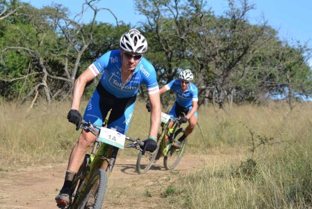 Johann Rabie (front) and HB Kruger of Telkom chase the leaders on stage eight of the 2016 Old Mutual joBerg2c. Photo: Full Stop Communications