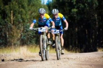 Waylon Woolcock & Darren Lill (USN-Purefit) won the first stage of the 2016 Sani2c Race in KwaZulu-Natal, today. Photo: Anthony Grote