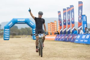 Trek's Brendon Davids won the 60km Karkloof Classic marathon. Photo: Anthony Grote