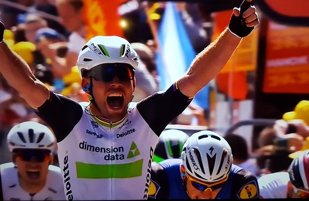 Team Dimension Data's Mark Cavendish wins the first stage of the 2016 Tour de France. Photo: SuperSport