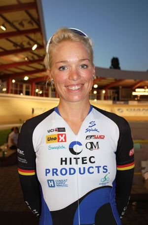 Charlotte Becker (HITEC Products) took the win in the women's race at the 947 Cycle Challenge in Johannesburg today. Photo: Supplied