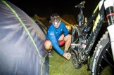A rider lubing his bike before day two of sani2c Trail. Photo: Kevin Sawyer