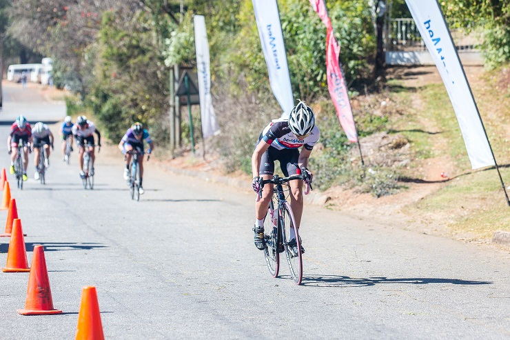 Team Bestmed-ASG's Sanet Coetzee powers to victory on a stage of the Bestmed Jock Classic road cycling race that started and finished in Mbombela, Mpumalanga, on Saturday.