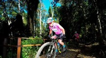 Ladies in pink cross a bridge during stage four of the Cape Pioneer Trek.. Photo: ZC Marketing Consulting