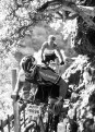 A rider pushes his way through a narrow section of the Trailseeker route.
