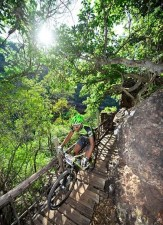 A rider enjoyes a lovely forest section while crossing a bridge on the Trailseeker route.
