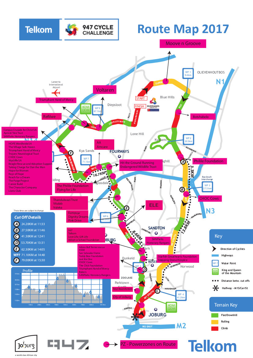 947 Cycle Challenge route map