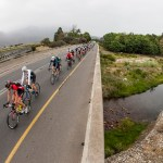 An aerial view of cyclists crossing the bridge during Sunday's Stellenbosch Cycle Tour.