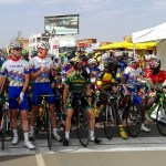 Riders lined up at the start of the 168km African Continental Road Championships road race in Rwanda today. Photo: Africa Team Rising