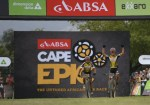 Investec-Songo-Specialized's Jaroslav Kulhavy and Howard Grotts pictured winning stage six of the Cape Epic in Wellington today. Photo: Zoon Cronje/Cape Epic