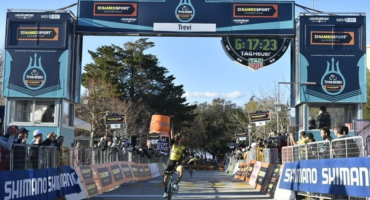 LottoNL-Jumbo's Primoz Roglic won the 239km third stage of the Tirreno-Adriatico in Italy today. Photo: @TirrenAdriatico