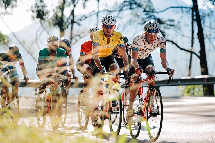 Gustav Basson (yellow jersey), James Fourie (polka dot), Jayde Julius (red) and Clint Hendricks (green) at Tour de Limpopo