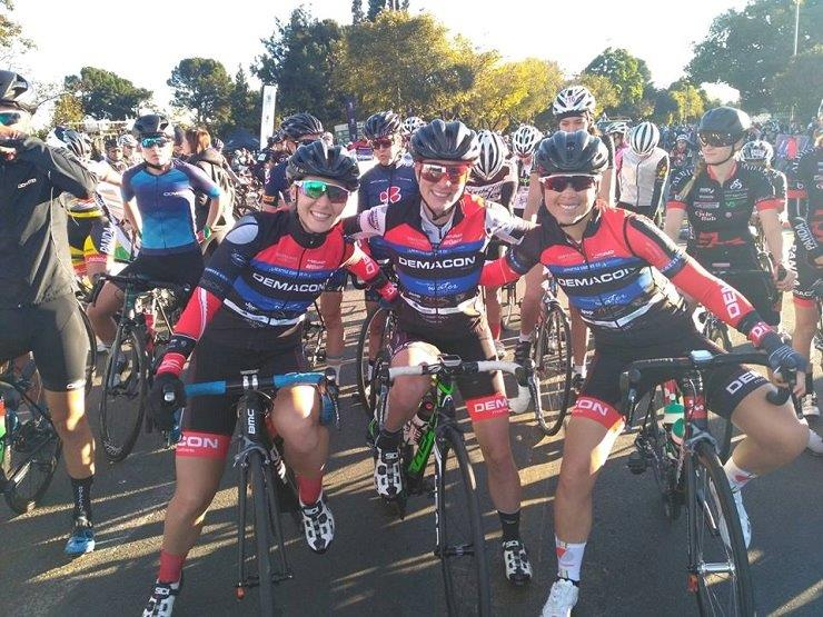 Team Demacon's Kim le Court (left) won the elite women's race of the 100 Cycle Challenge. Photo: 100 Cycle Challenge