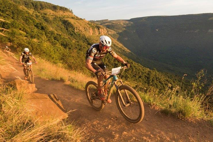 Winning pair NAD Pro's Nico Bell (front) and Matt Beers during the second stage of the sani2c Race. Photo: Anthony Grote