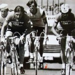 Raymond Hogg (left) in action during his young days of cycling between 1969 and 1983. Photo: Supplied